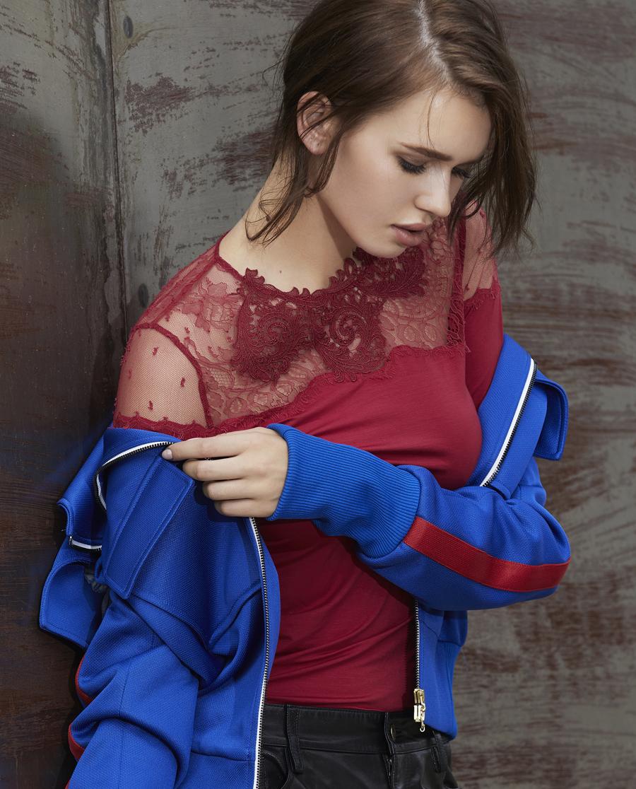 La Clover保暖 LA CLOVER蕾丝MODEL系列圆领长袖上衣LC72GM2