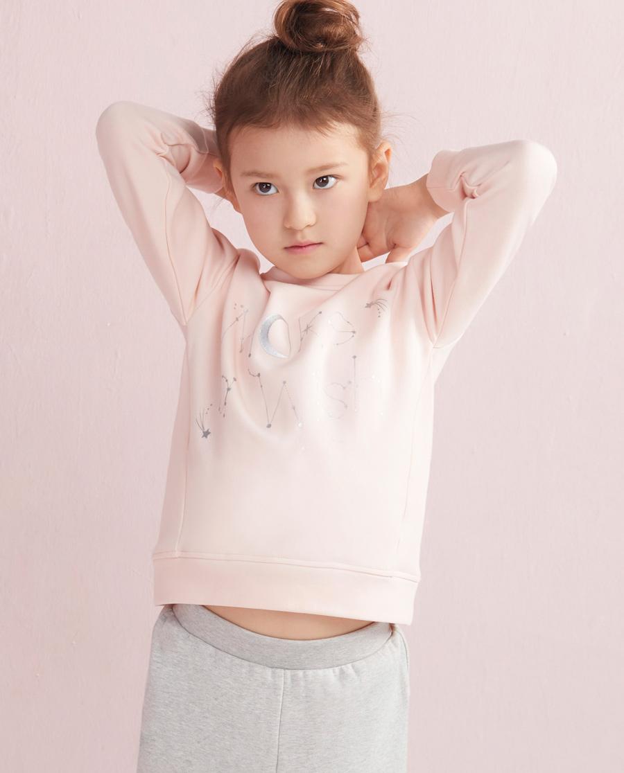 Aimer Kids睡衣|爱慕儿童女童时尚卫衣短款套头长袖卫衣AK1810383