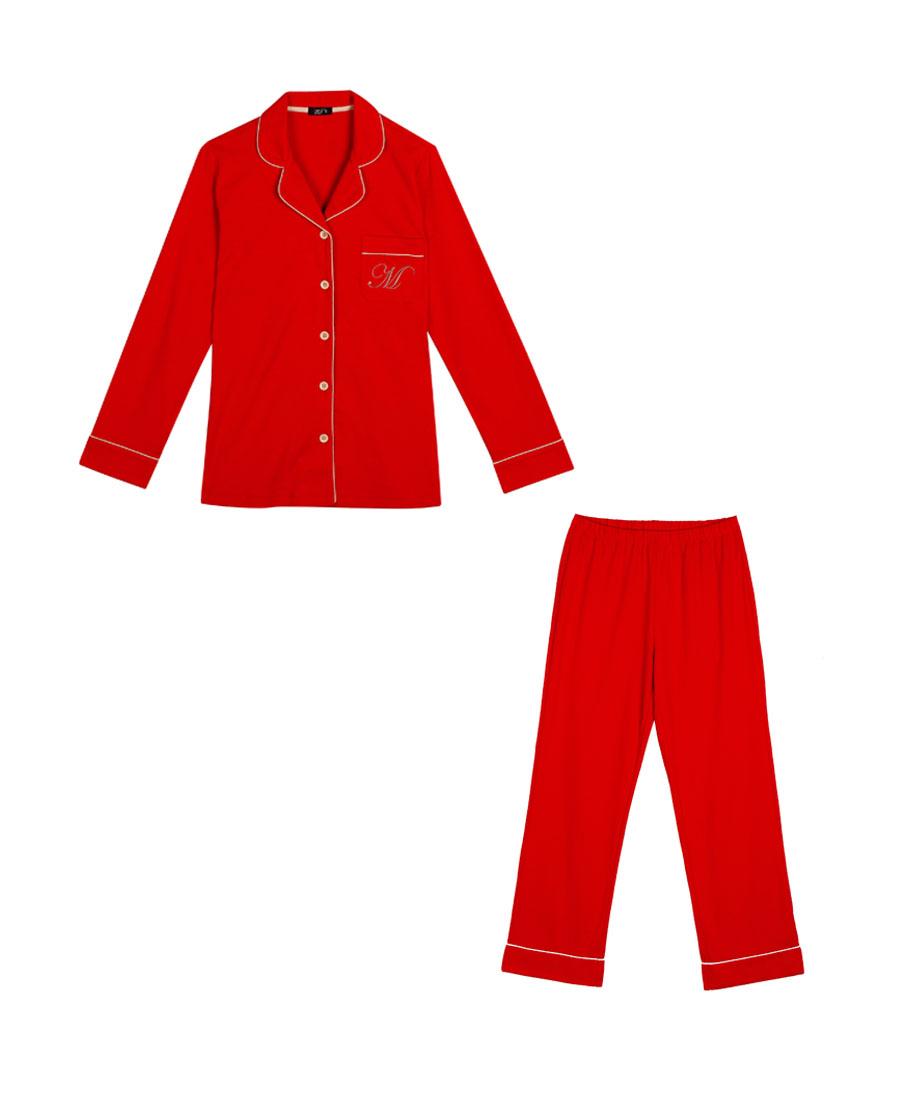 IMIS睡衣 爱美丽家居婚庆红女士翻领开衫长袖长裤分身套装IM46APF2