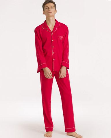 IMIS睡衣|爱美丽家居婚庆红男士翻领开衫长袖长裤分身套装IM46APF1