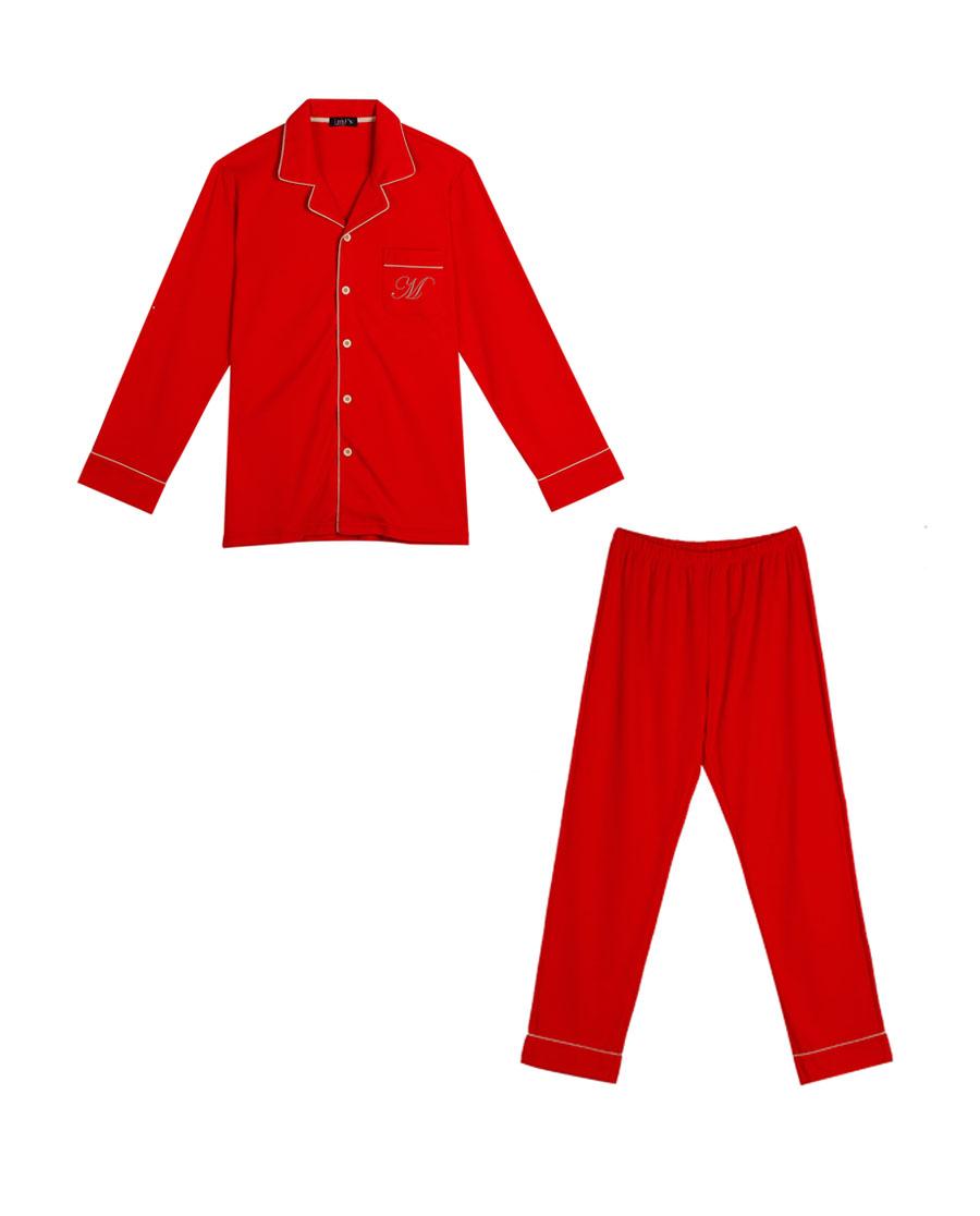 IMIS睡衣 爱美丽家居婚庆红男士翻领开衫长袖长裤分身套装IM46APF1
