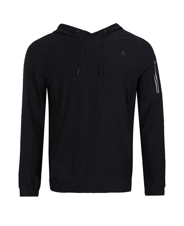 Aimer Men运动装|爱慕先生酷黑运动帽衫套头薄绒长袖上衣NS81B362
