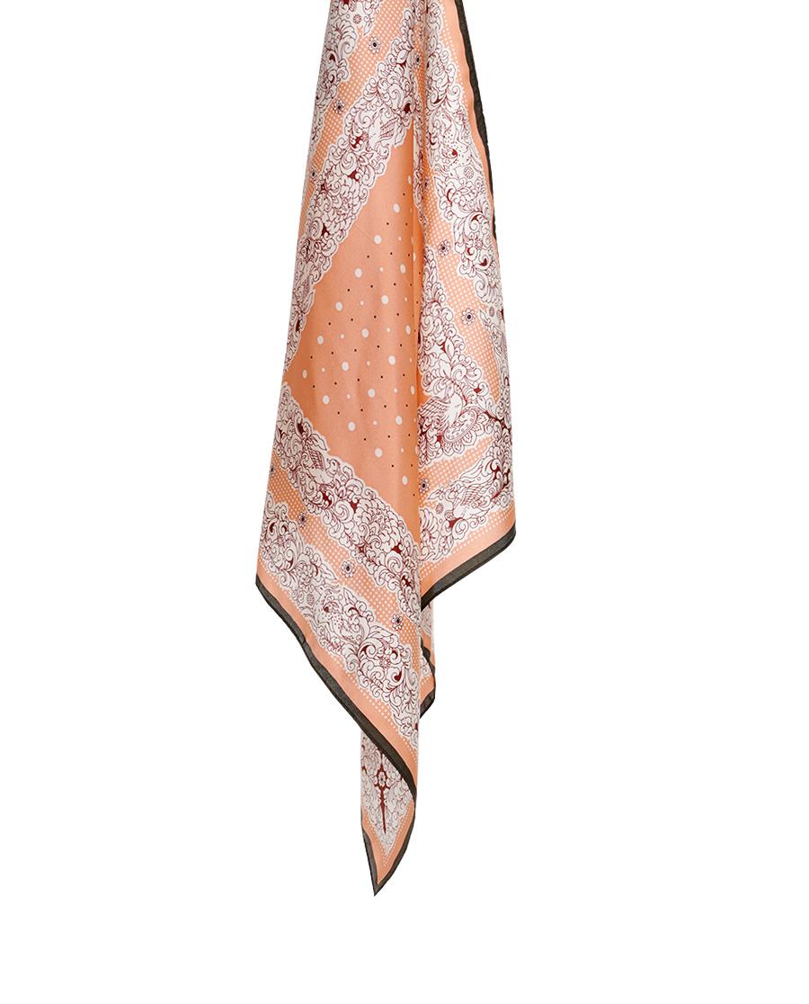 皇錦印花方巾-卷草波點HL31060