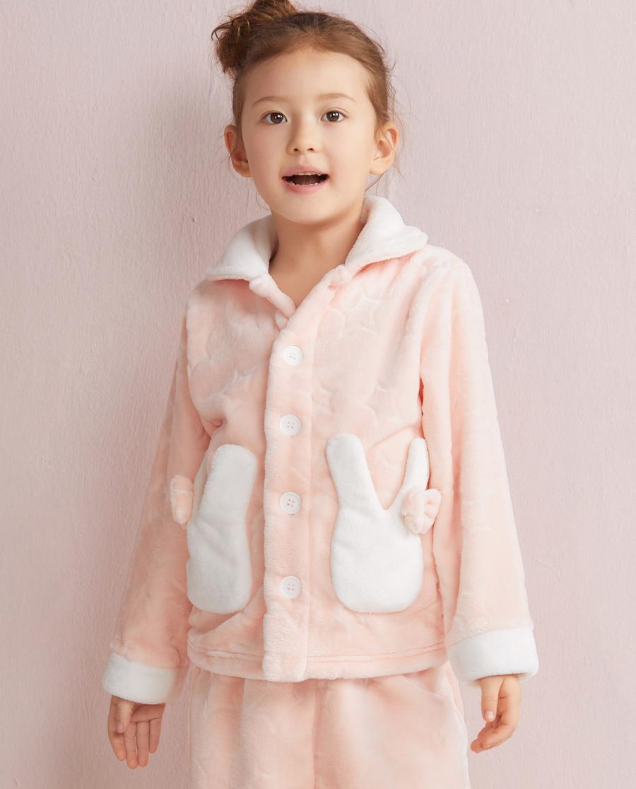 Aimer Kids睡衣|爱慕儿童星星兔开衫长袖家居上衣AK1410231