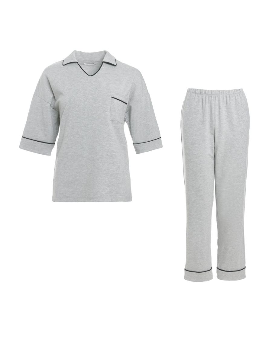 Aimer睡衣|ag真人平台假日时光短袖长裤分身套装AM462331