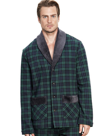 Aimer Men睡衣|爱慕先生英伦格纹家居青果领开衫长袖NS41B231