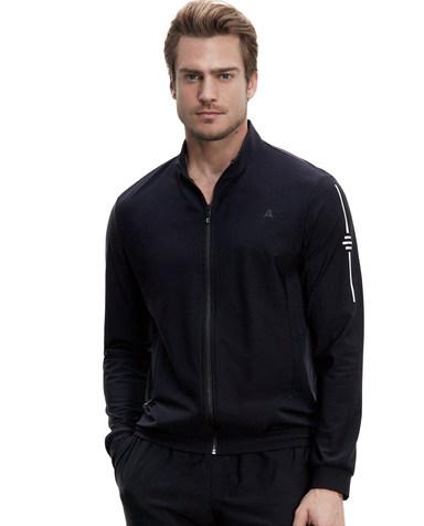 Aimer Men休闲外穿|爱慕先生酷黑运动立领拉链薄绒长袖上衣NS81B364