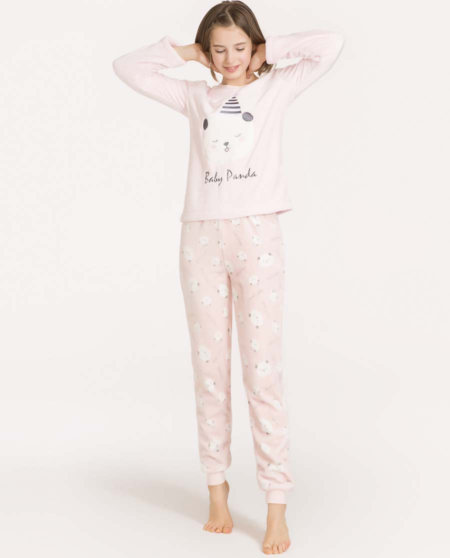 imi's睡衣|爱美丽TEEN-家居熊猫宝贝珊瑚绒圆领套头长袖套装IM46AMX1