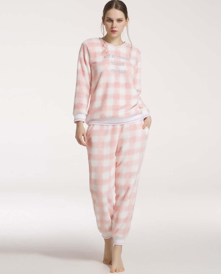 imi's睡衣|爱美丽家居格子绒V领长袖套头长袖上衣长裤套装IM46ANP1
