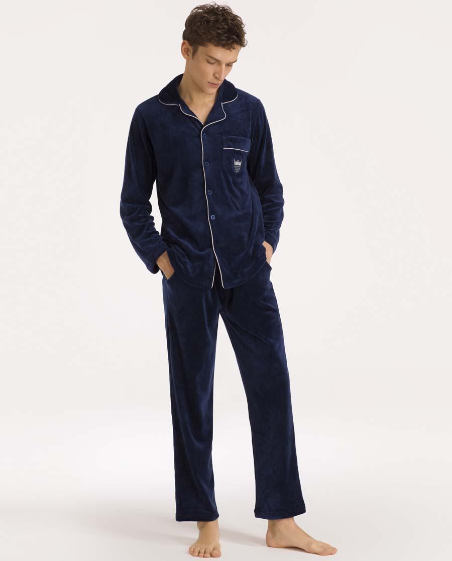 imi's睡衣|爱美丽家居波点绒夫妇男士翻领开衫长袖长裤