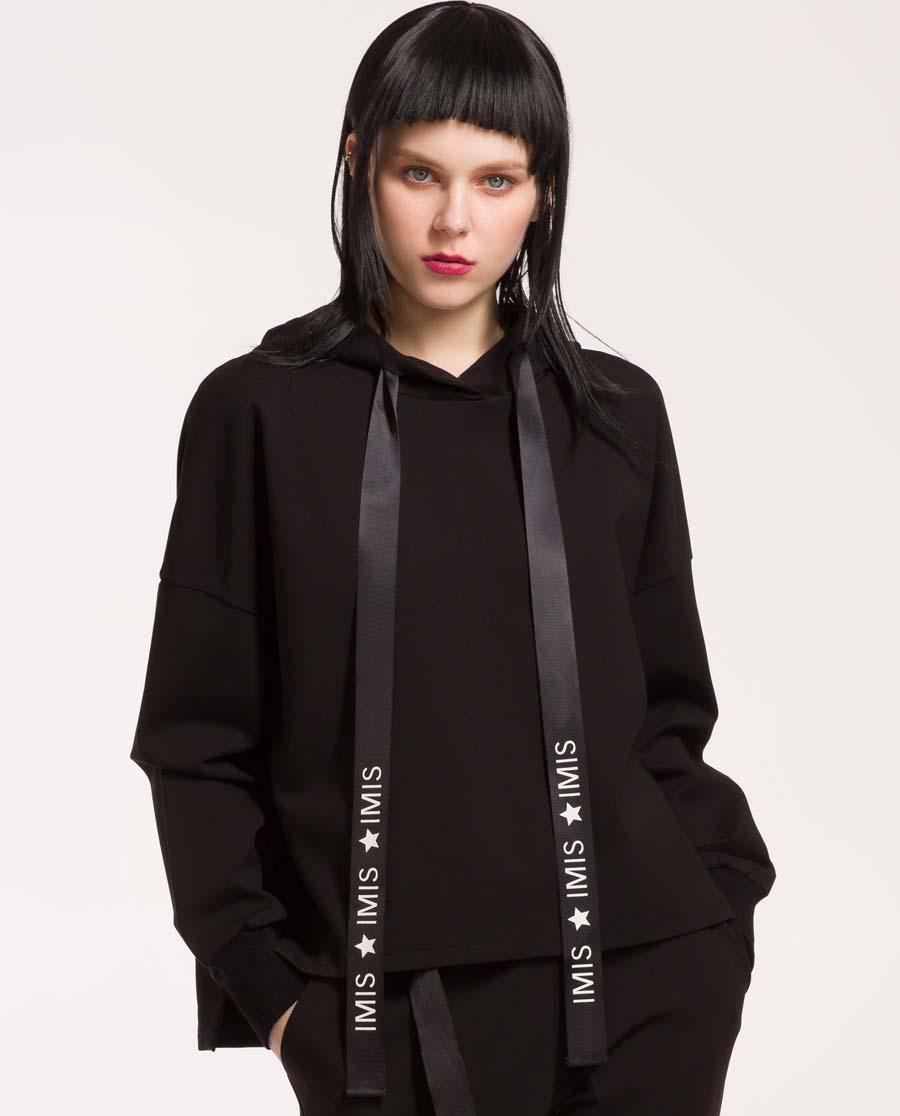 imi's运动装 爱美丽活力字母装饰带带帽长袖上衣IM63APX1