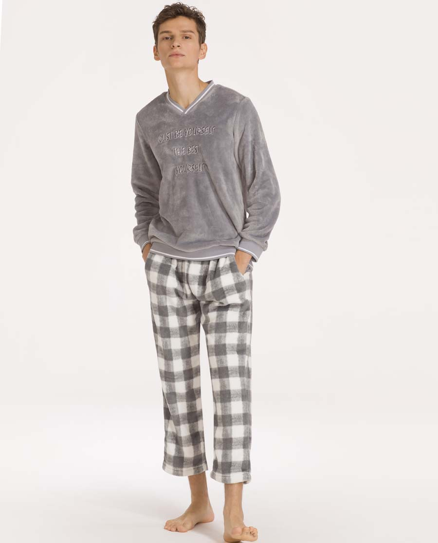 imi's睡衣|爱美丽家居格子绒男士V领套头长袖上衣长裤