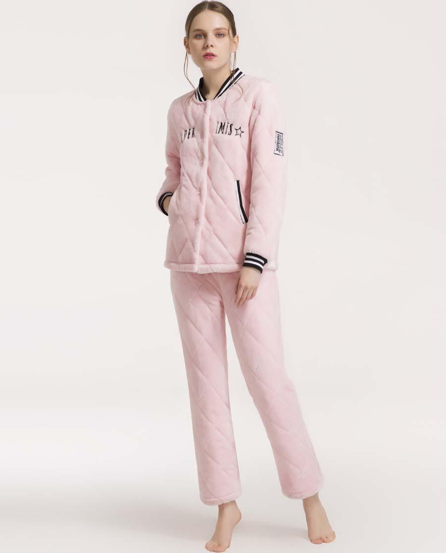 imi's睡衣|爱美丽家居活力绣标绗缝圆领开衫长袖长裤套装IM46ANQ2