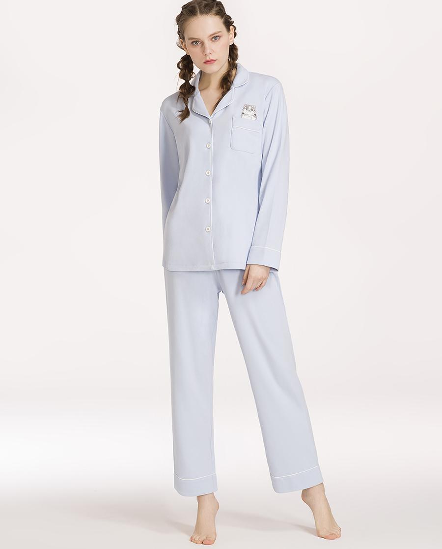 imi's睡衣|爱美丽家居品质宠物女士翻领开衫长袖长裤分身套装IM46ANV2
