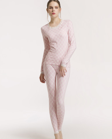 IMIS保暖|经典几何圆领保暖长袖上衣裤子套装IM74APK1