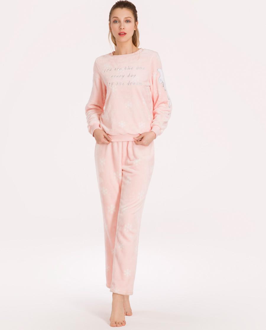 imi's睡衣|爱美丽女士家居服圆领加绒长袖上衣长裤套装IM46ANK2