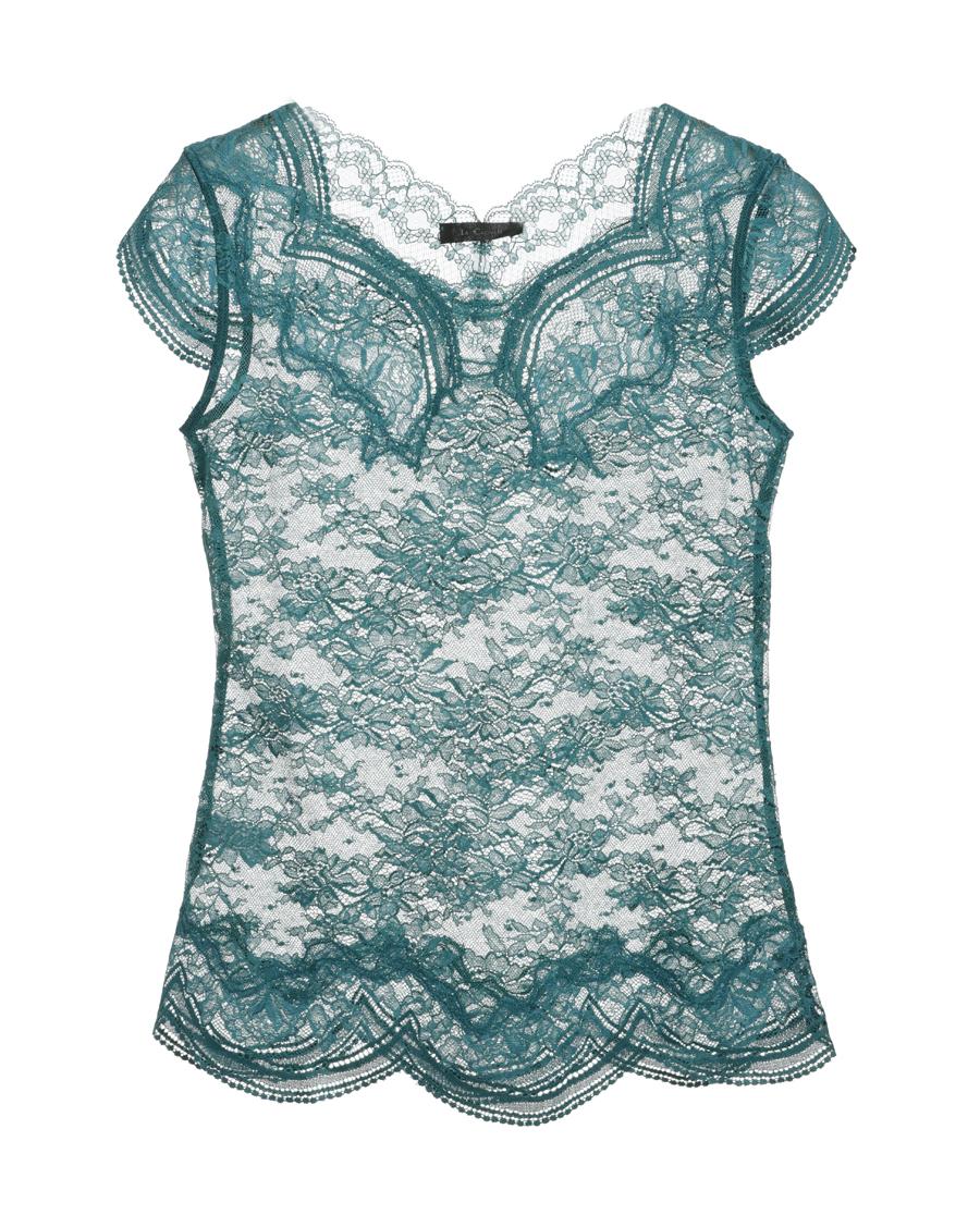 La Clover保暖|LA CLOVER蕾丝迷情圆领短袖上衣L