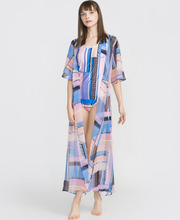 IMIS泳衣|爱美丽泳衣彩色律动沙滩长裙IM65BMS1