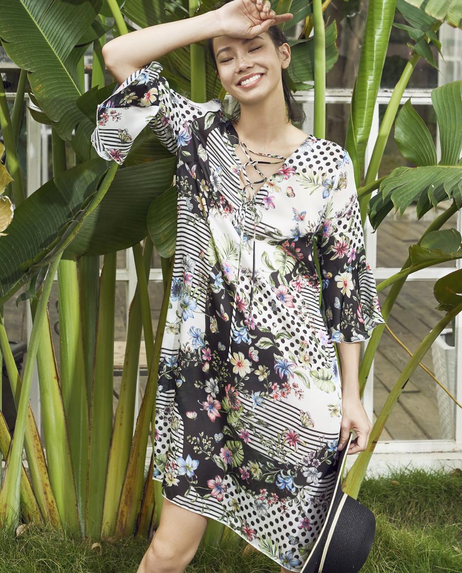 Aimer泳衣|ag真人平台斐济幻想五分袖中长沙滩裙AM602571