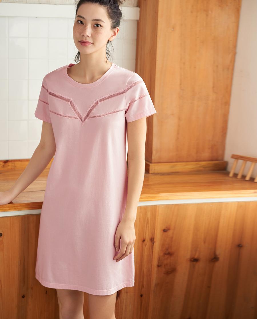 Aimer Home睡衣|爱慕家品素之雅意短袖睡裙AH440371