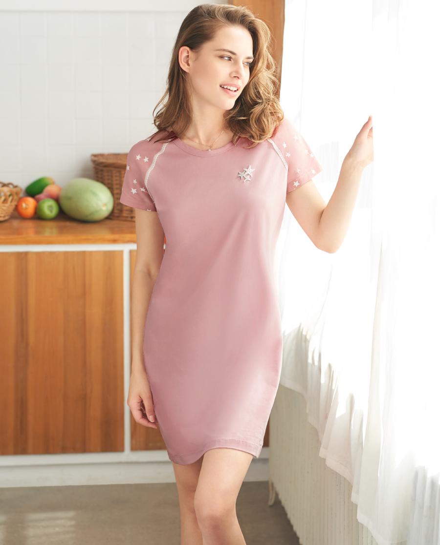 Aimer Home睡衣|爱慕家品星之棉柔短袖中长睡裙AH440362