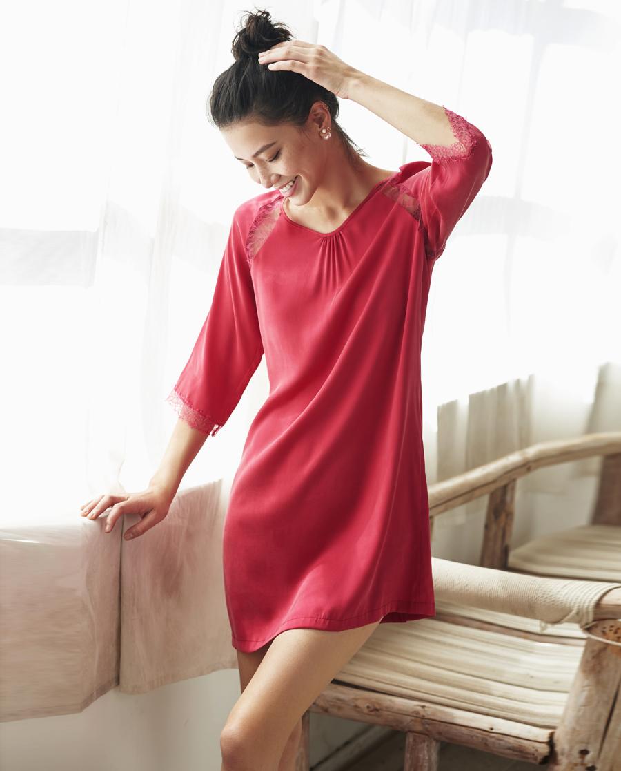 Aimer Home睡衣|爱慕家品维纳斯之吻八分袖睡裙AH440341