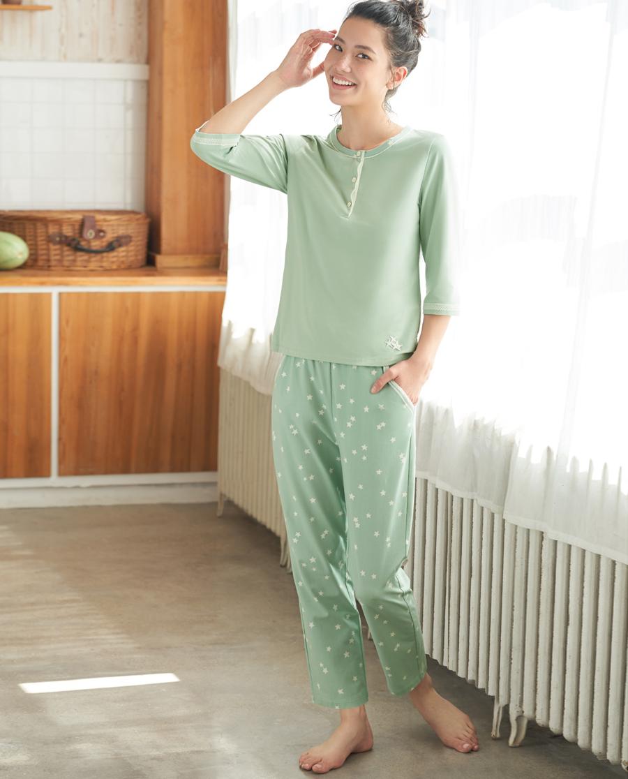 Aimer Home睡衣|爱慕家品星之棉柔七分袖分身家居套装AH460361
