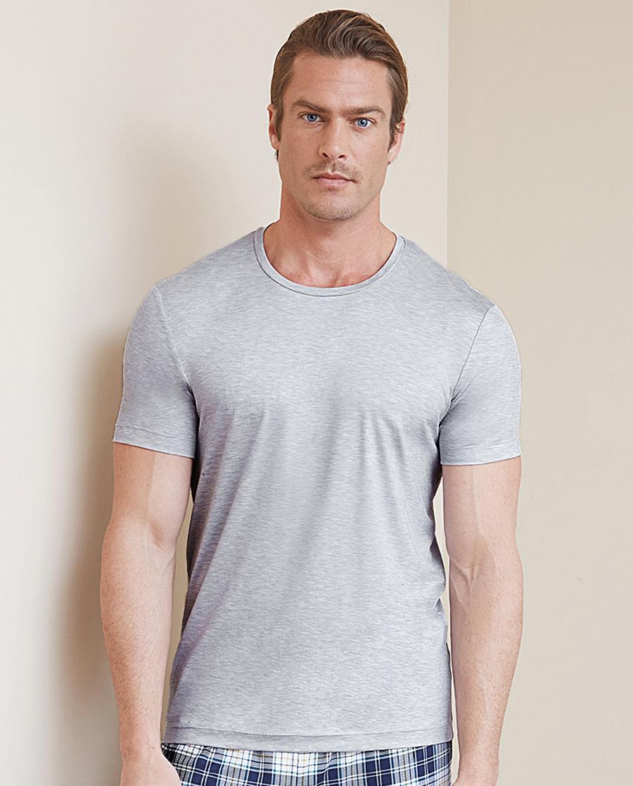 Aimer Men睡衣|ag真人平台先生纵享丝滑圆领短袖上衣NS12C081