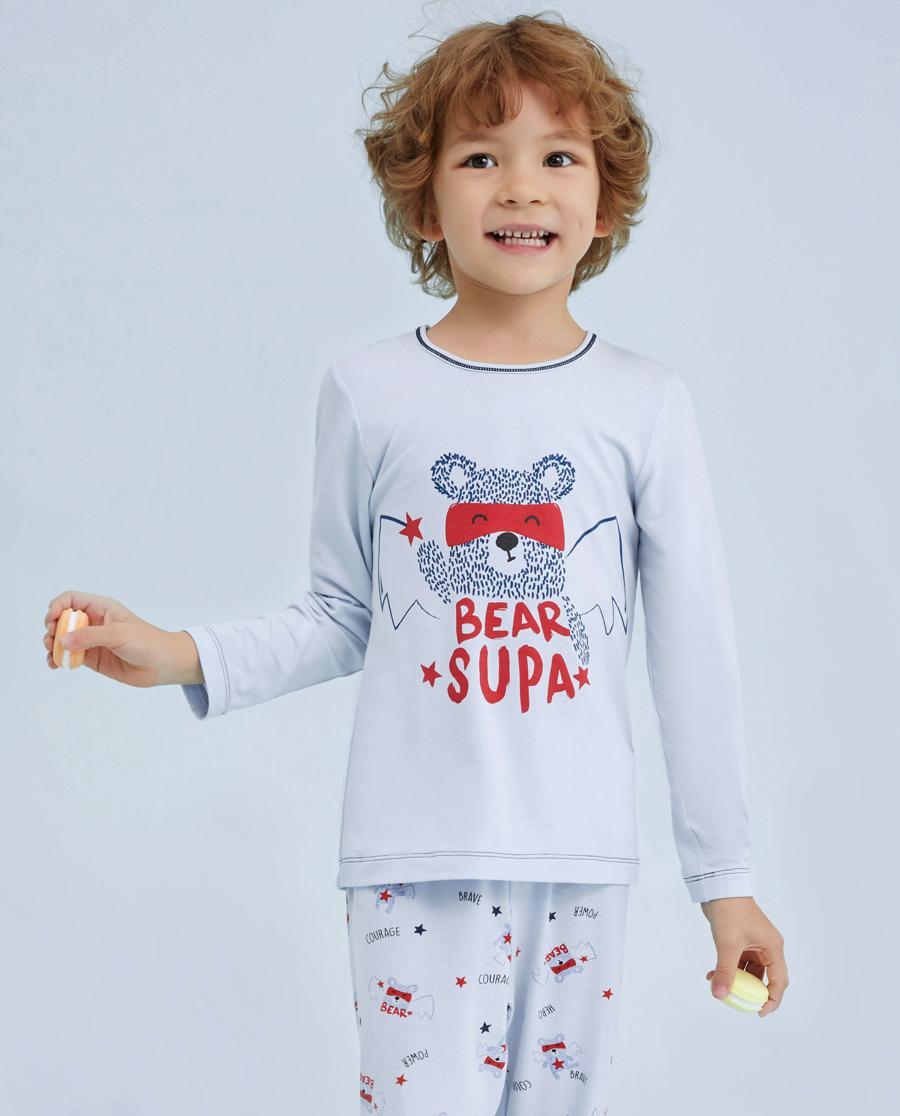 Aimer Kids睡衣|爱慕儿童慕尔熊男童长袖上衣AK24109