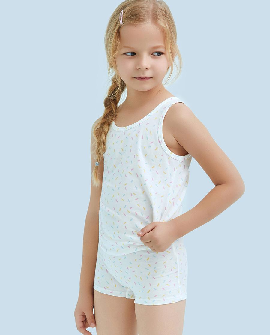 Aimer Kids内裤|爱慕儿童天使小裤棉氨纶印花彩虹糖中腰平角裤AK1231213