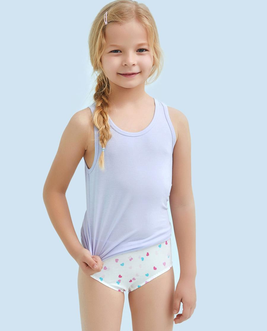 Aimer Kids内裤|ag真人平台儿童天使小裤MODAL印花小爱心女童中腰三角内裤AK1221201