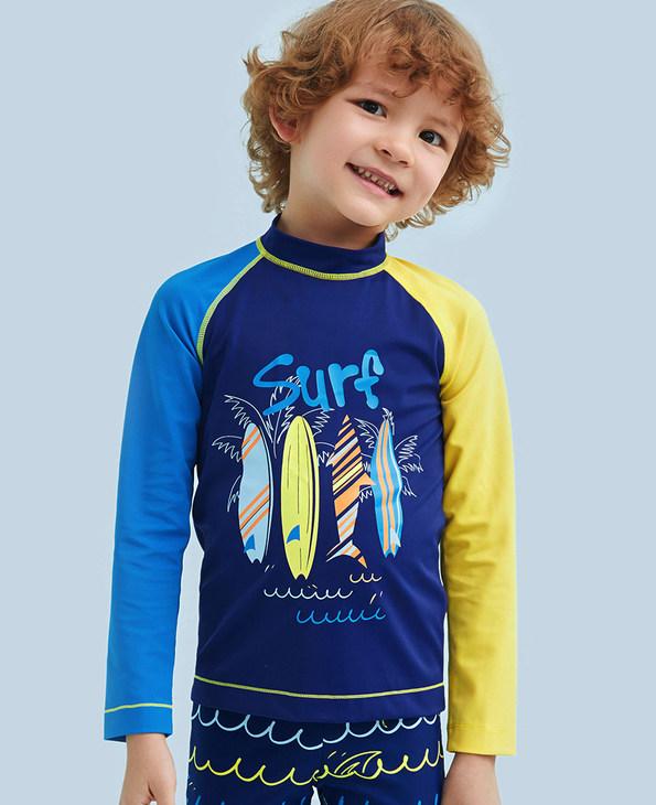 Aimer Kids泳衣 爱慕儿童海滩冲浪男童长袖泳衣AK2671191