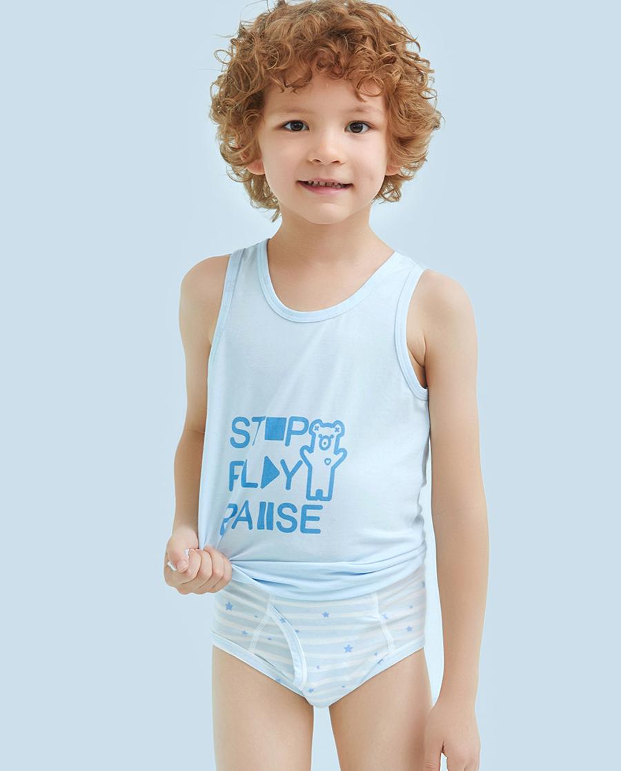 Aimer Kids内裤|爱慕儿童天使小裤MODAL印花条纹星星男童中腰三角内裤AK2221201