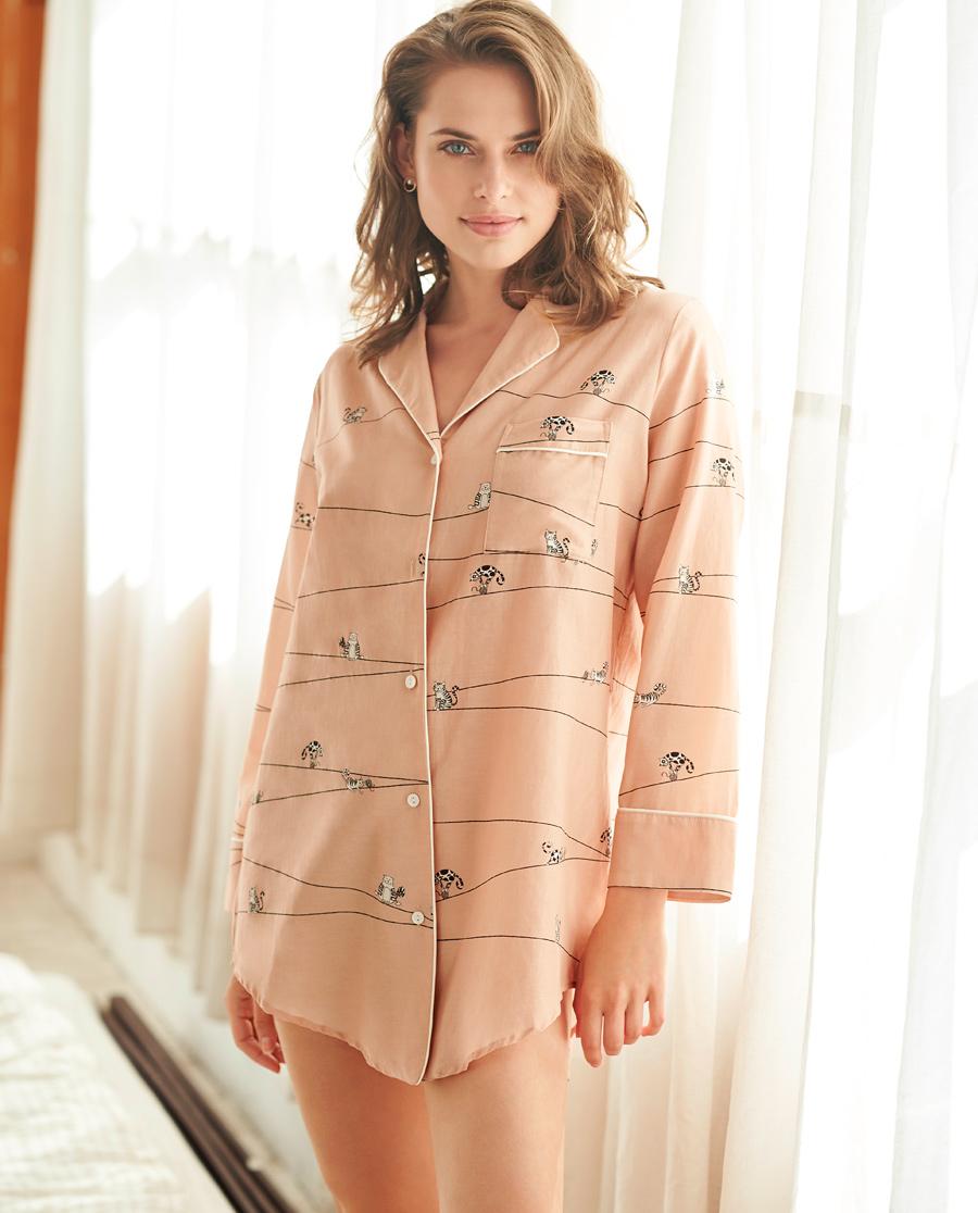 Aimer Home睡衣 爱慕家居趣享生活中长衬衫裙AH440401