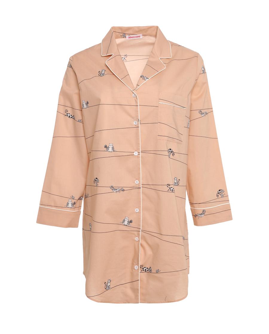 Aimer Home睡衣|爱慕家品趣享生活中长衬衫裙AH44040