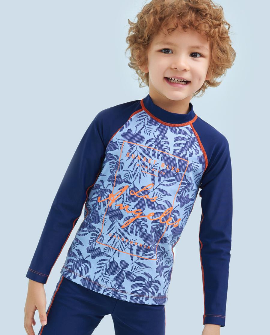 Aimer Kids泳衣|爱慕儿童热带风情男童长袖泳衣AK2671471