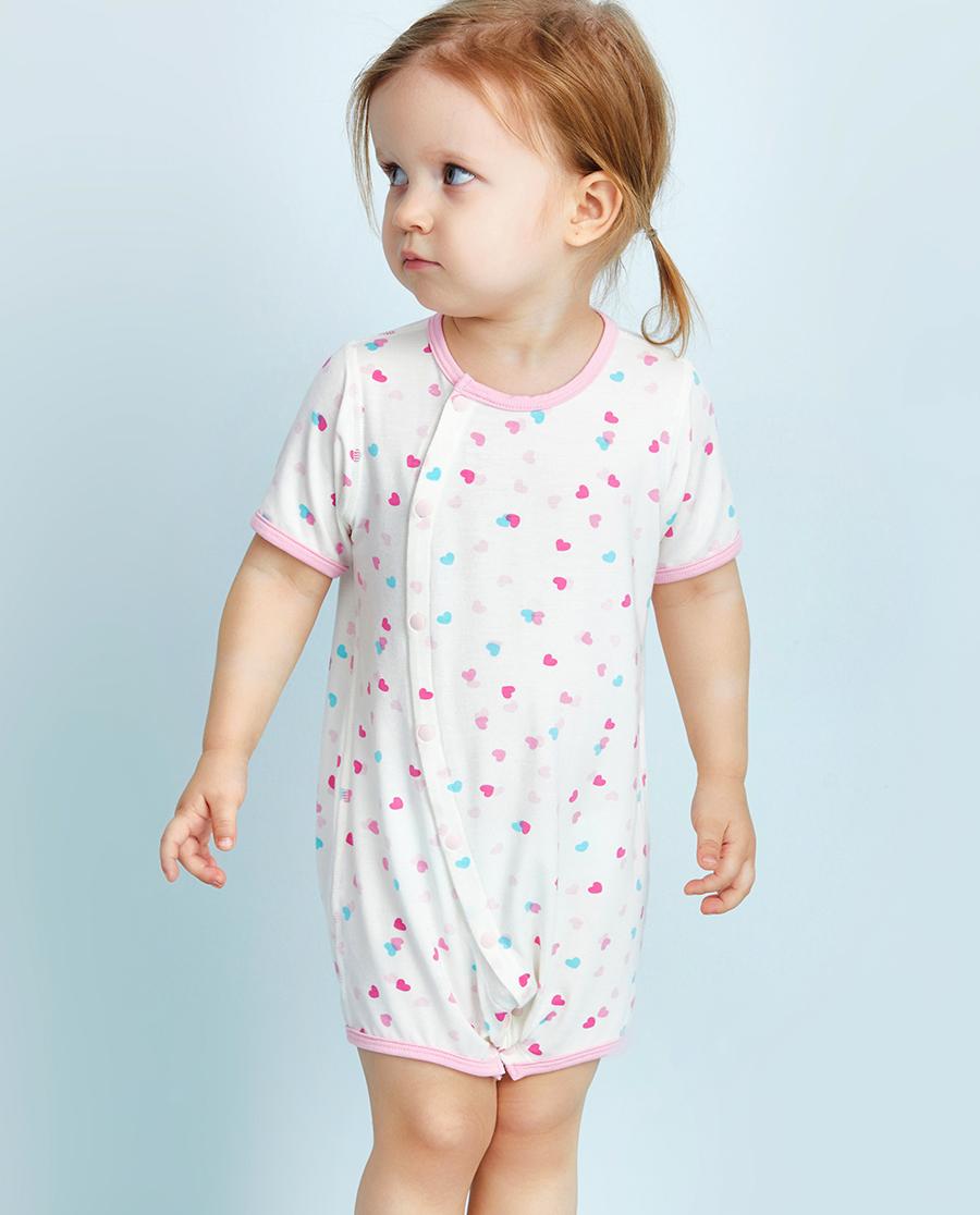 Aimer Baby保暖|爱慕婴儿爱心兔宝短袖短裤连体爬服AB1751006