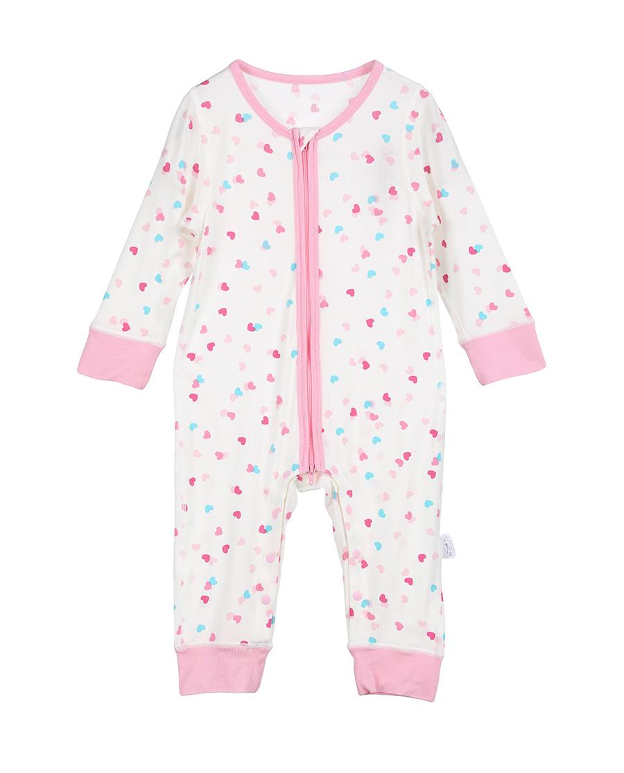 Aimer Baby保暖|爱慕婴儿爱心兔宝女幼婴长袖连体爬服AB1751001(59-80尺码)