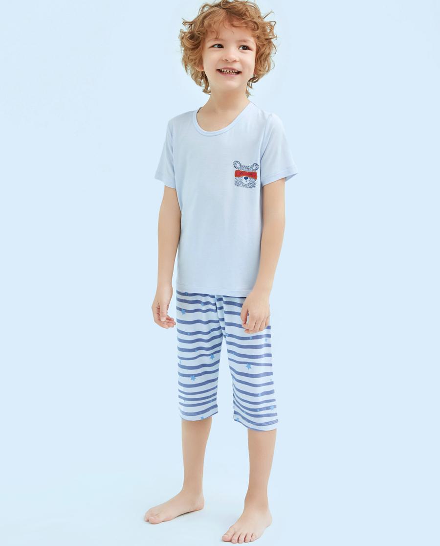 Aimer Kids睡衣|爱慕儿童天使慕尔熊短袖男童七分裤家居套装(2件装)AK2430892