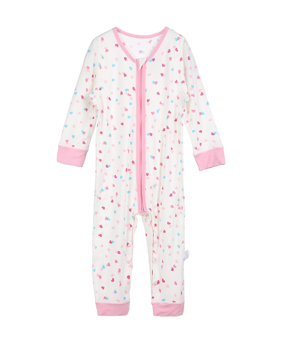 Aimer Baby保暖|爱慕婴儿爱心兔宝女幼婴长袖连体爬服AB1751002(90-100尺码)