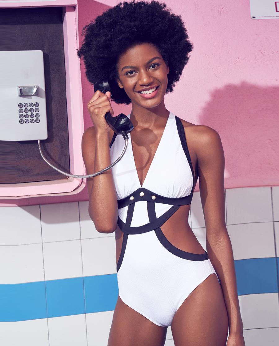 Aimer泳衣|爱慕黑白性感连体泳衣AM682552