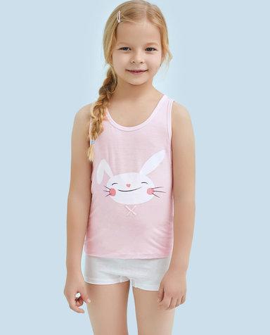 Aimer Kids睡衣|爱慕儿童天使背心modal印花爱兔儿女童背心AK1111133