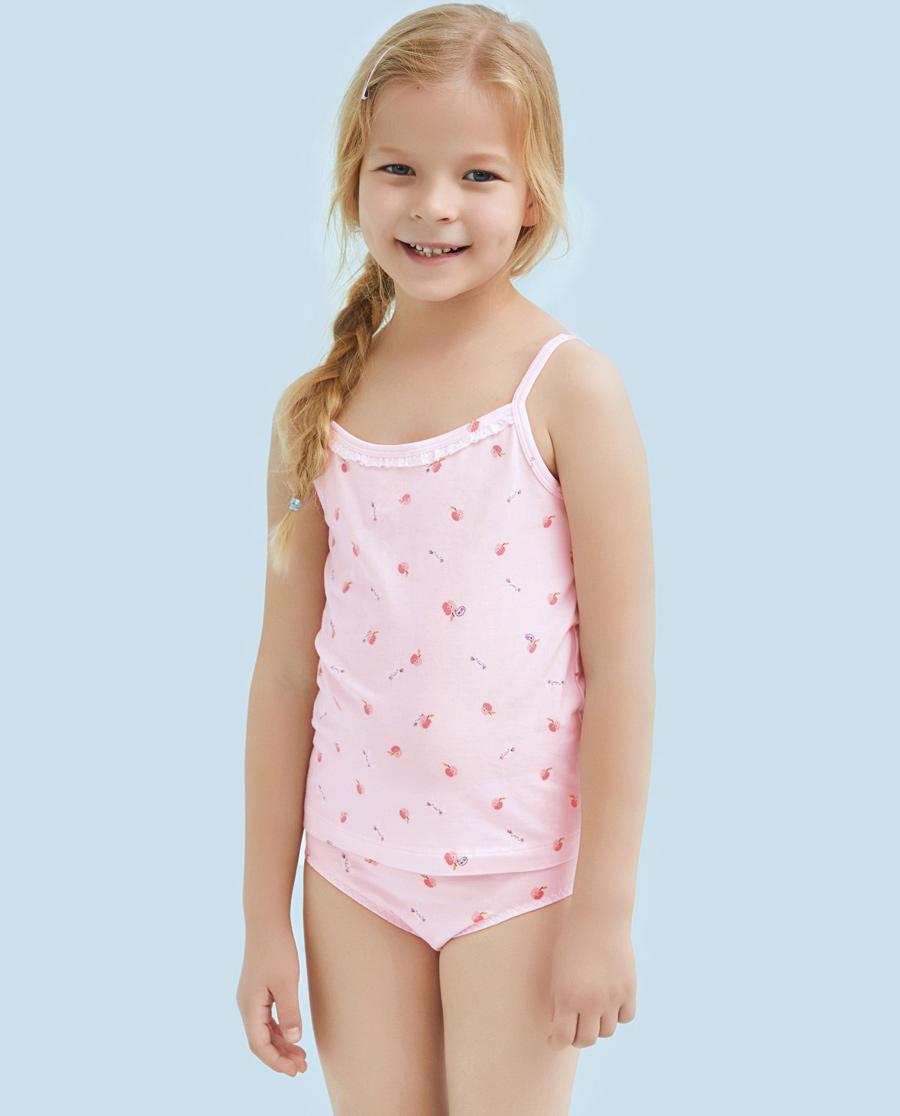 Aimer Kids睡衣|爱慕儿童天使背心棉氨纶印花小兔吃苹果女童吊带AK1111123