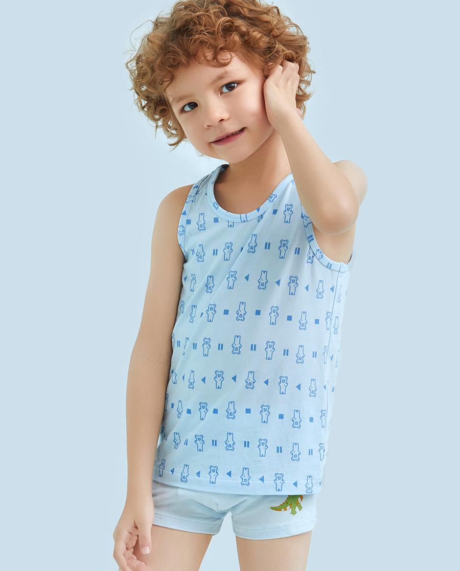 Aimer Kids睡衣|爱慕儿童天使背心棉莫印花DJ熊男童挎栏背心AK2111112