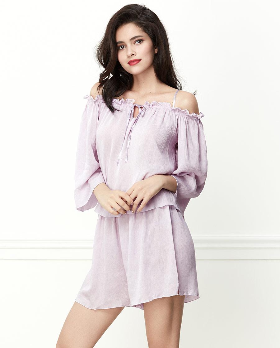 Shine Love睡衣|心愛隨心褶皺褶皺短袖短褲套SL46U21
