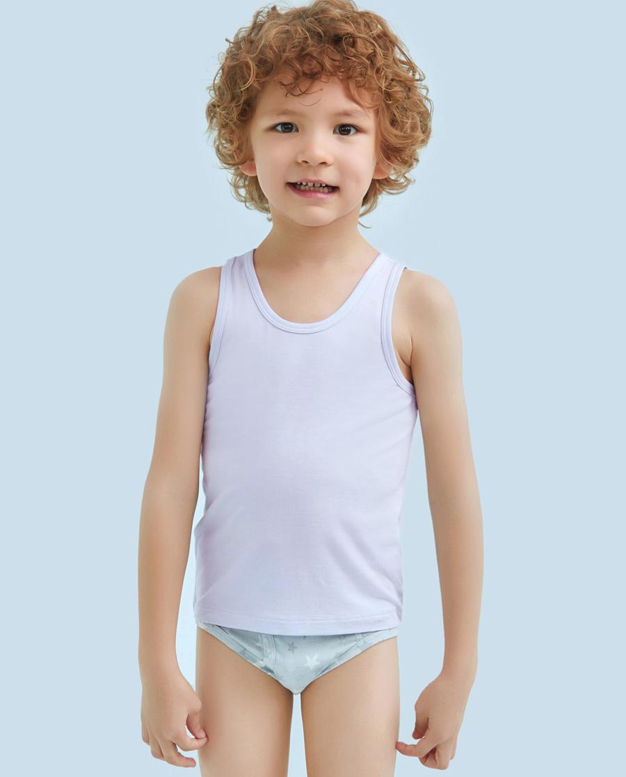 Aimer Kids睡衣|爱慕儿童天使背心modal男童跨栏背心A