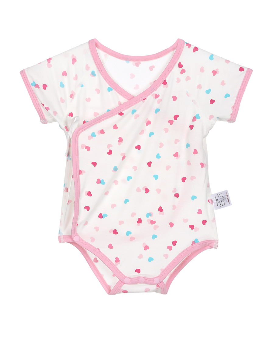 Aimer Baby保暖|爱慕婴幼爱心兔宝短袖双层护肚爬服AB1751005