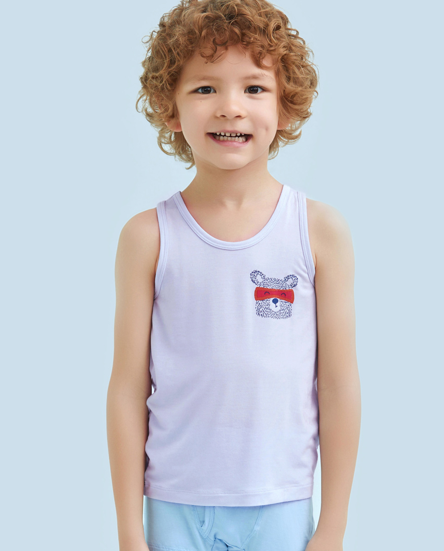 Aimer Kids睡衣|ag真人平台儿童天使背心modal印花慕尔熊跨栏背心AK2111131