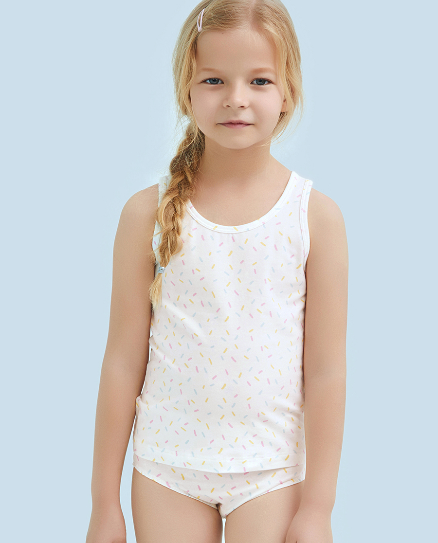Aimer Kids睡衣|ag真人平台儿童天使背心棉氨纶印花彩虹糖女童背心AK1111122