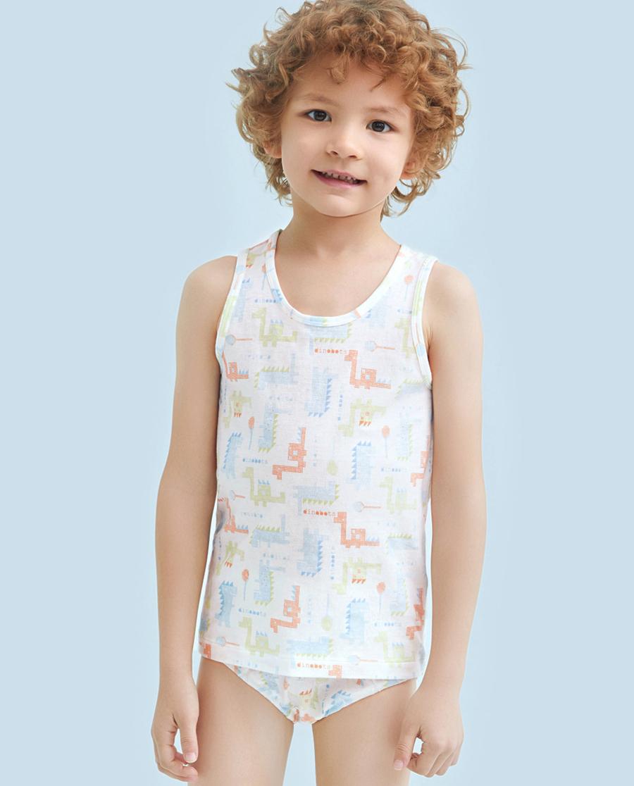 Aimer Kids睡衣|爱慕儿童像素恐龙男童挎栏背心AK2111171